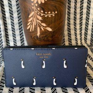 Blue spade large Cameron slim bifold wallet black